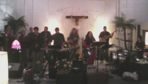 Carol and the band at the 1st Worship and Intercession Prayer Initiative.