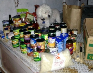 Franki helping to sort out the donated food.