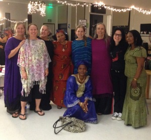 Carol with some of the ladies from the Swahili worship team and Klee Adonai Messianic dancers.