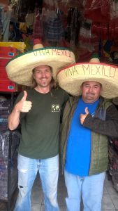 Amigos! Wayne with our partner Vicente having some fun in the blanket store.